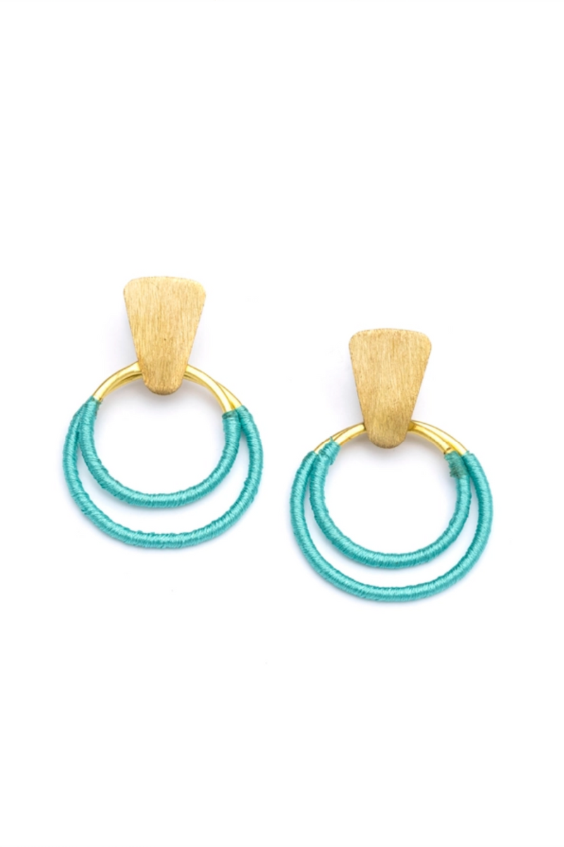 Teal Threaded Hoop Earrings