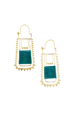 Beaded Teal Earrings