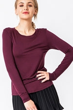 Boatneck Long sleeve Top - Burgundy