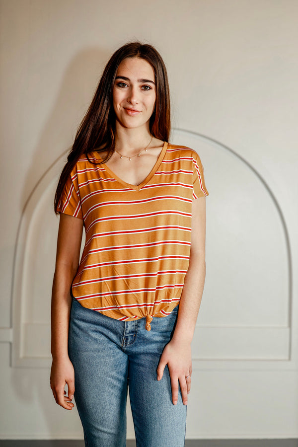 'Right Time' Top - Yellow/Red