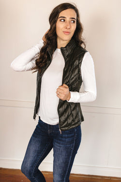 Padded Puffer Vest - Olive
