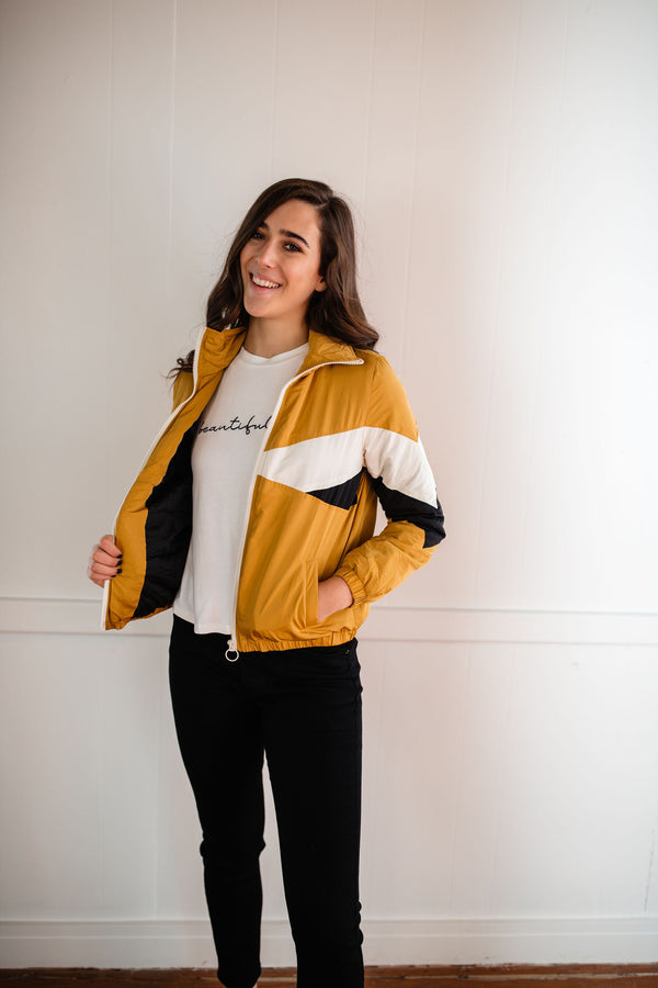 Colorblocked Windbreaker - Mustard