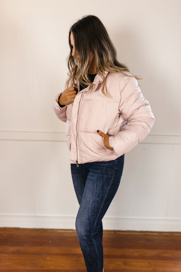 'This is Now' Puffer Jacket - Dusty Pink