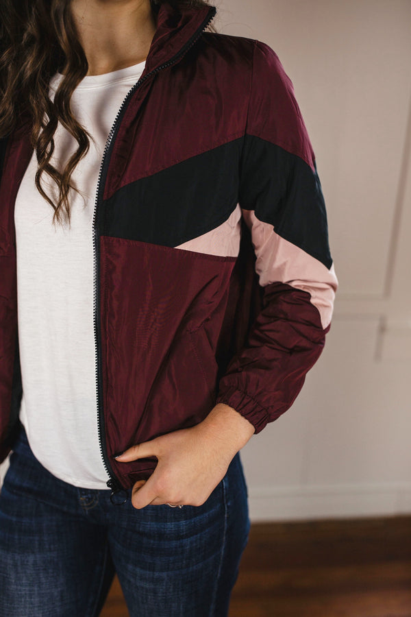 Colorblocked Windbreaker - Wine