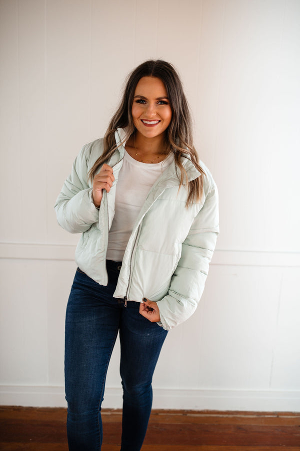 'This is Now' Puffer Jacket - Mint