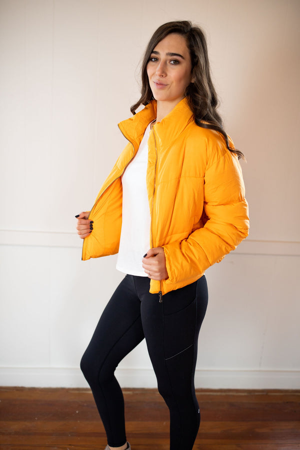 'This is Now' Puffer Jacket - Orange