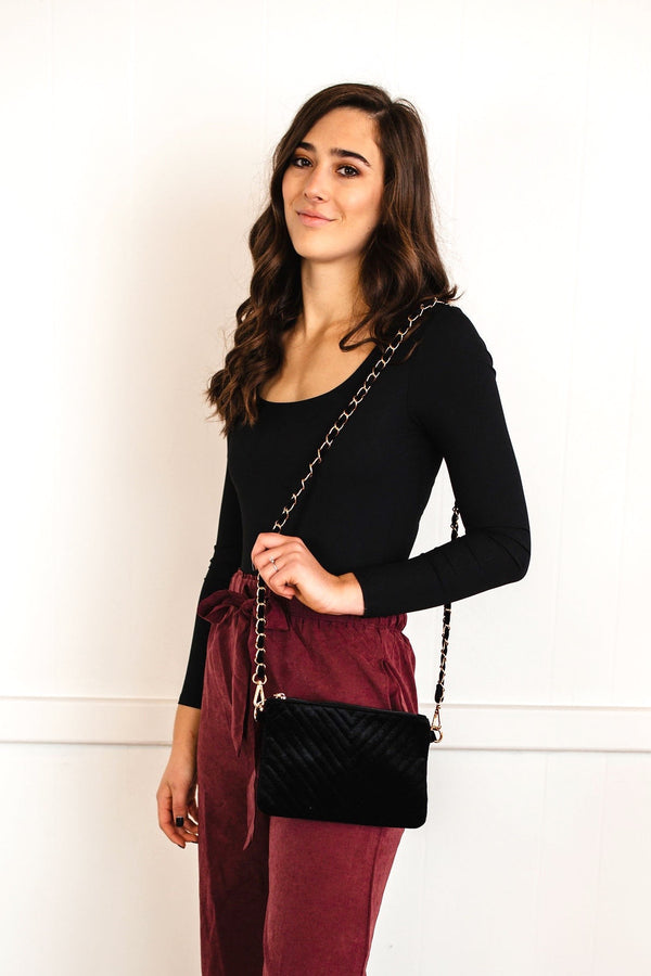 Chevron Quilted Bag - Black