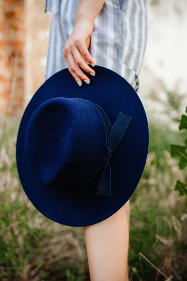 'Billie' Felt Hat - Navy