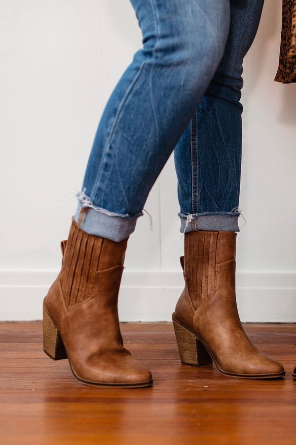 brown tan booties