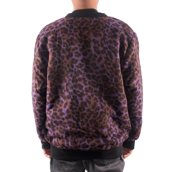 PLEASURES MOHAIR CARDIGAN PURPLE LEOPARD