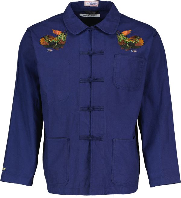 Quail-Embroidered Shirt Jacket
