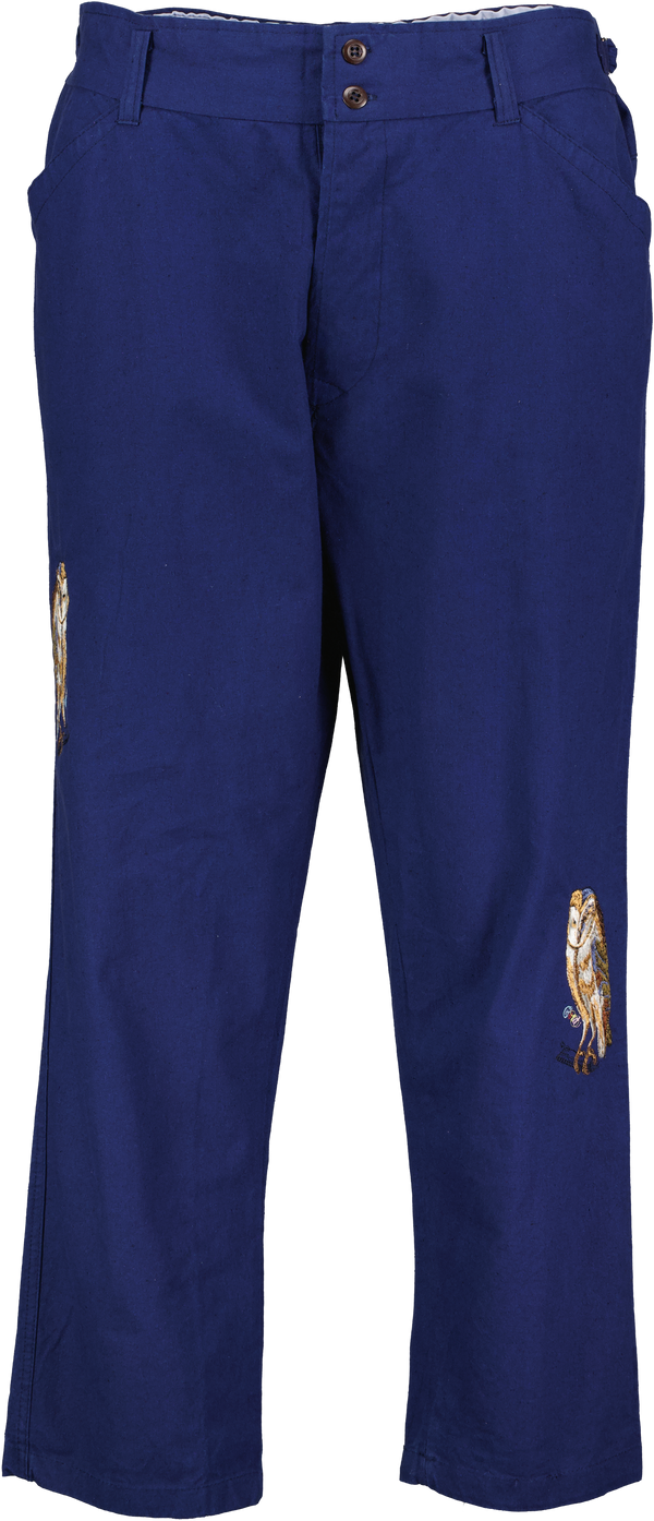 Embroidered Loose-Fit Cotton Trousers