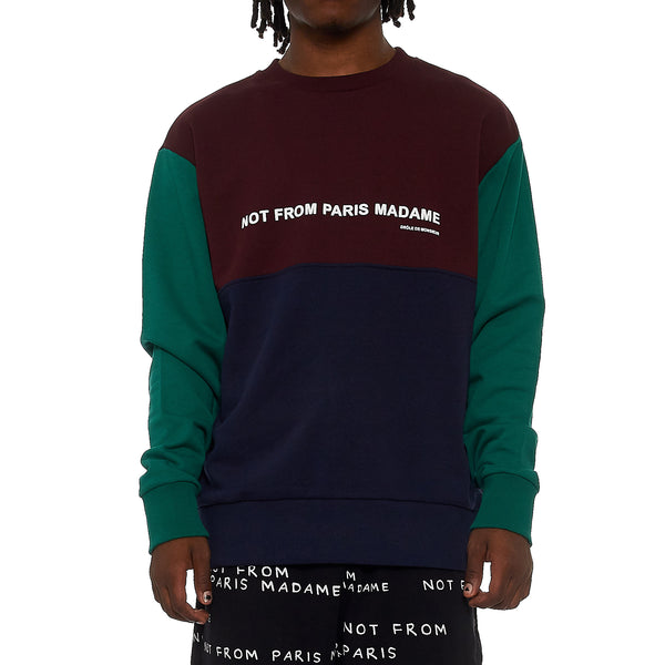Drole De Monsieur Paneled Slogan Sweatshirt