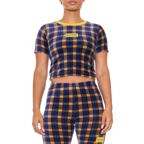 MadeMe Velour Plaid Baby Tee (Blue)