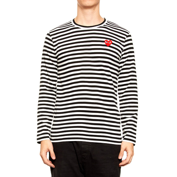 Comme Des Garcons Play Striped Heart Shirt