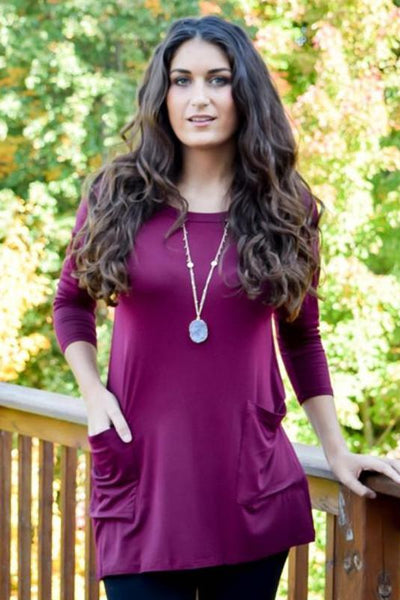 Ella Tunic with Button Up Back- Wine - Hello Pink Boutique - 1
