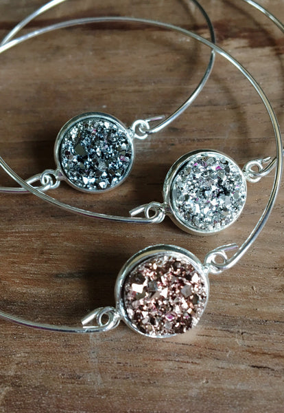 Dainty Druzy Bangle Bracelet - Hello Pink Boutique