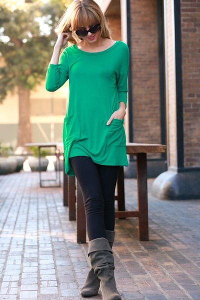 Ella Tunic with Button Up Back- Kelly Green - Hello Pink Boutique - 1
