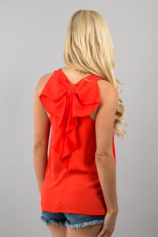 Bow Back Tank | Red - Hello Pink Boutique - 1