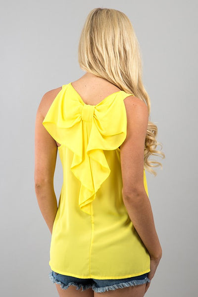 Bow Back Tank | Yellow - Hello Pink Boutique