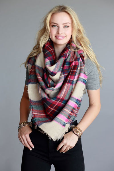 Plaid Blanket Scarf- Magenta/ Green - Hello Pink Boutique