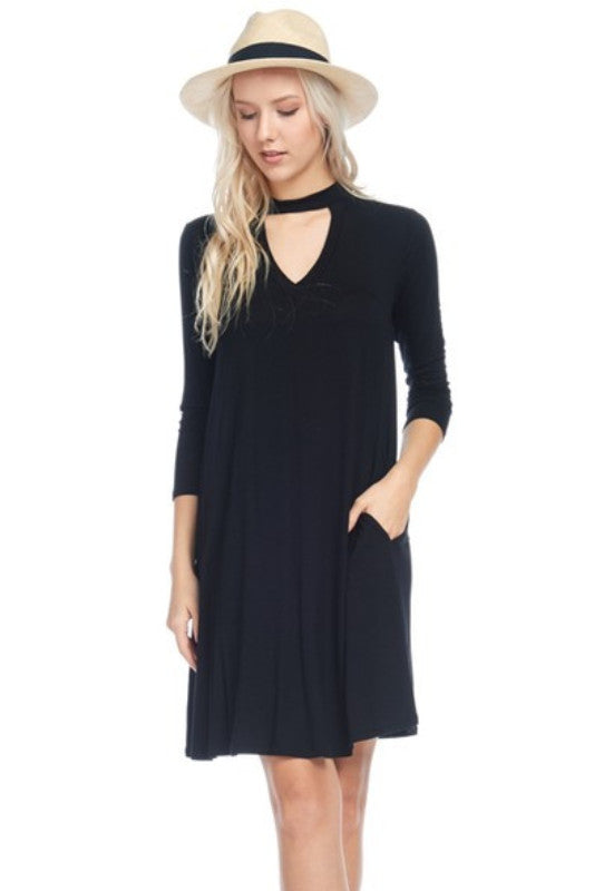 Adeline Choker Dress | Black