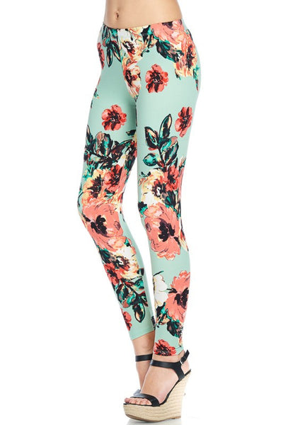 Hello Perfect Leggings | Mint Floral