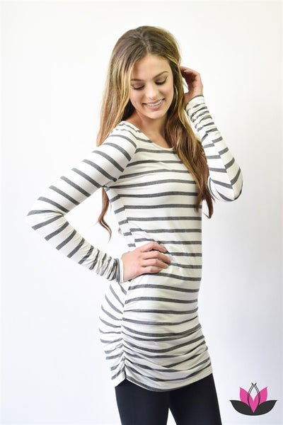 Striped Ruched Tunic | Charcoal - Hello Pink Boutique