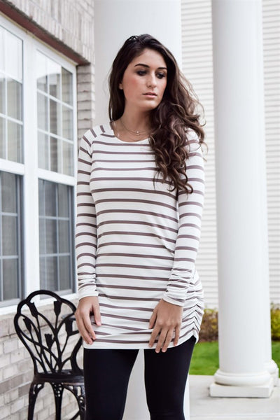 Striped Ruched Tunic | Mocha - Hello Pink Boutique
