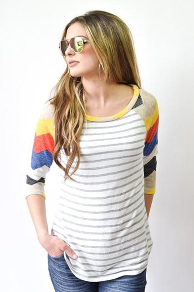 Elise 3/4 Sleeve Contrast Top