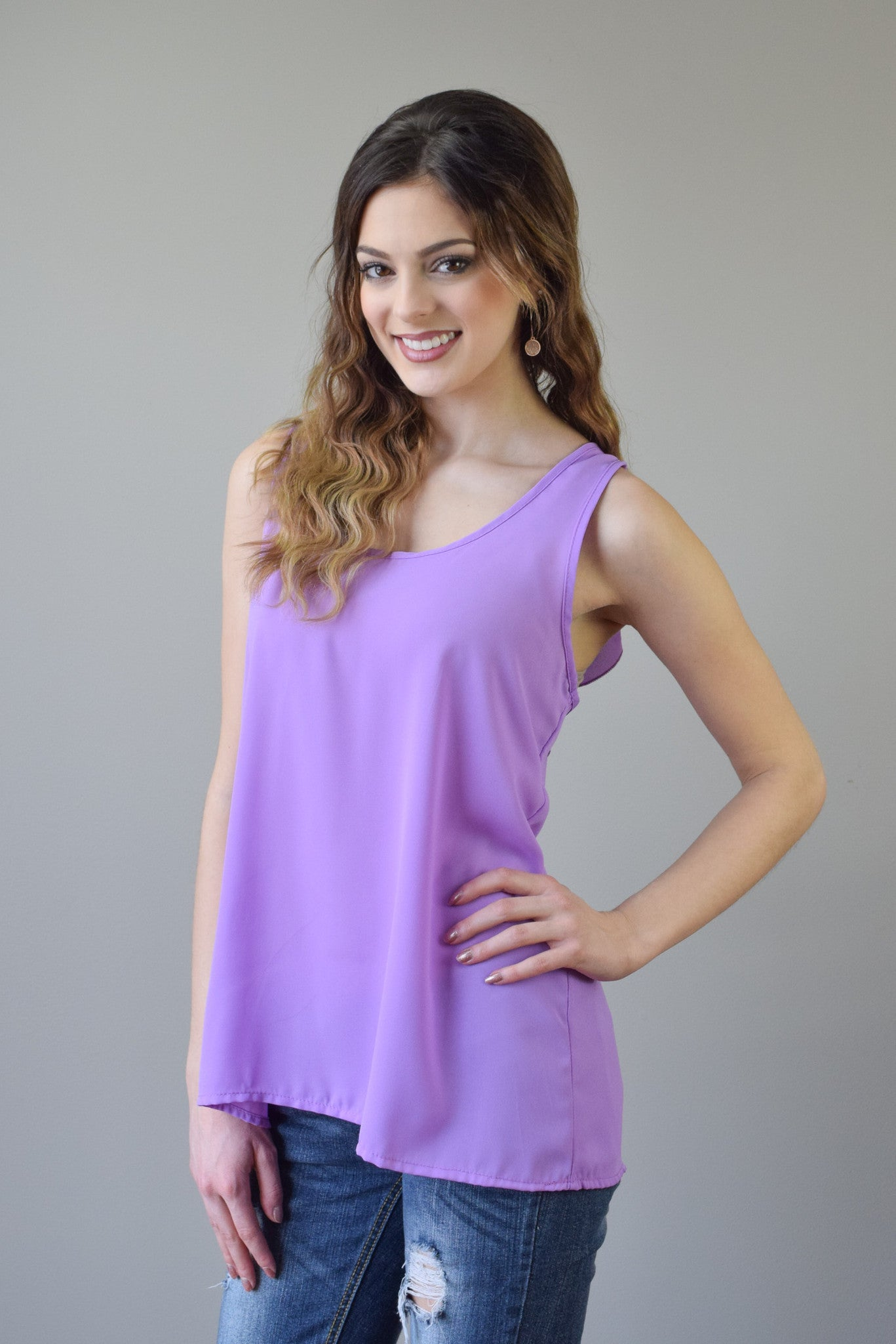 Bow Back Tank | Lavender - Hello Pink Boutique - 2