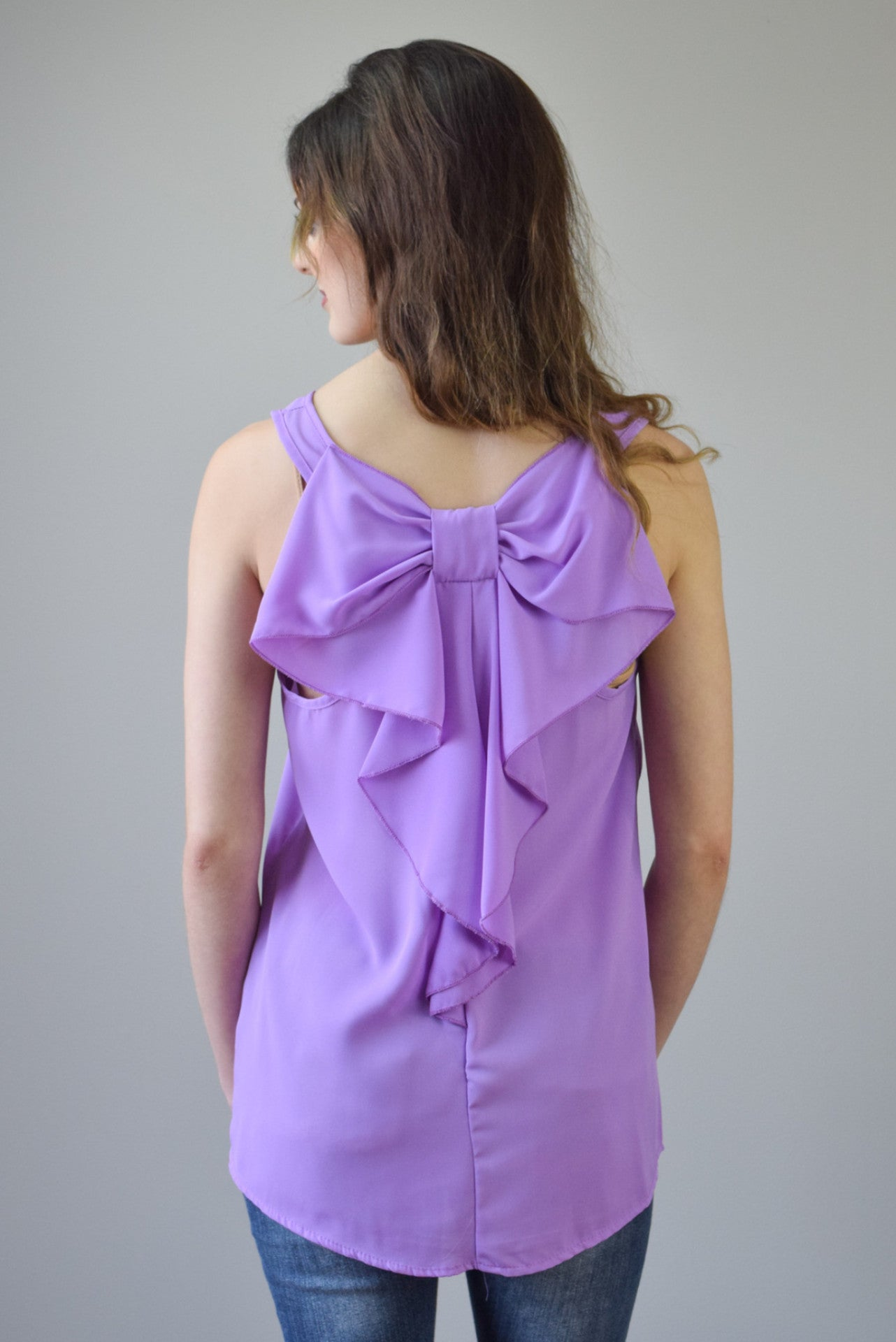 Bow Back Tank | Lavender - Hello Pink Boutique - 1