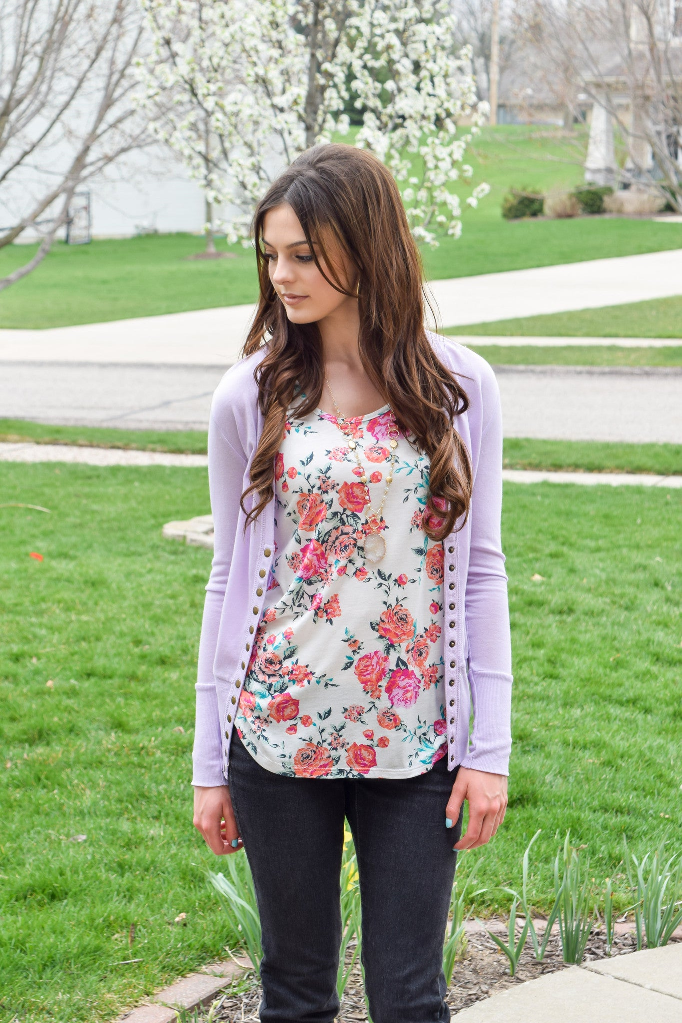Snap Up Cardigan- Lilac - Hello Pink Boutique - 1