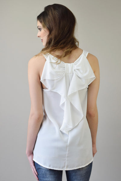 Bow Back Tank | Ivory - Hello Pink Boutique - 1