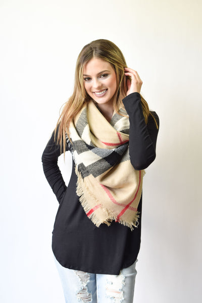 Tan Plaid Blanket Scarf | New Style - Hello Pink Boutique - 1