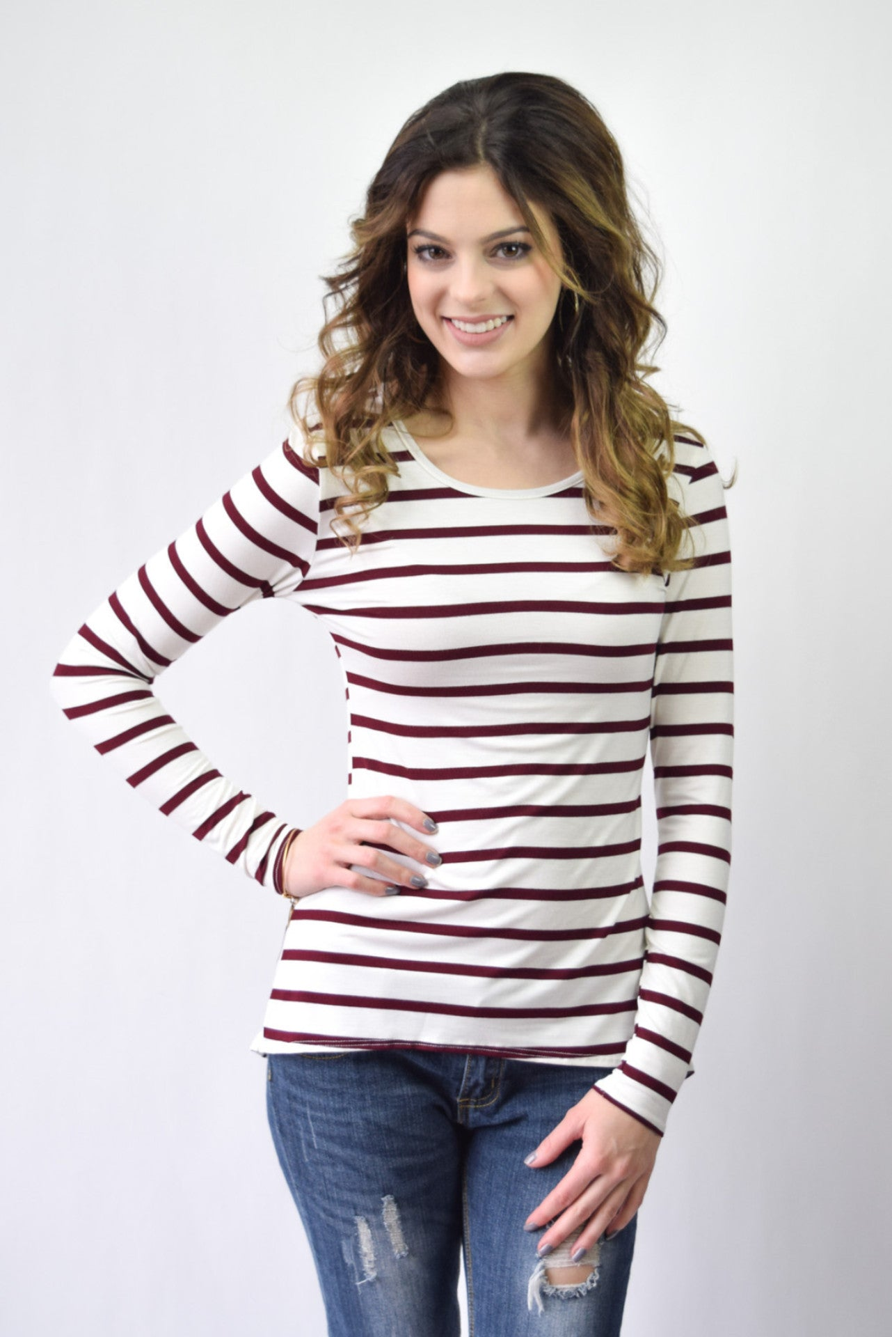 Striped Peplum Top | Wine - Hello Pink Boutique - 2