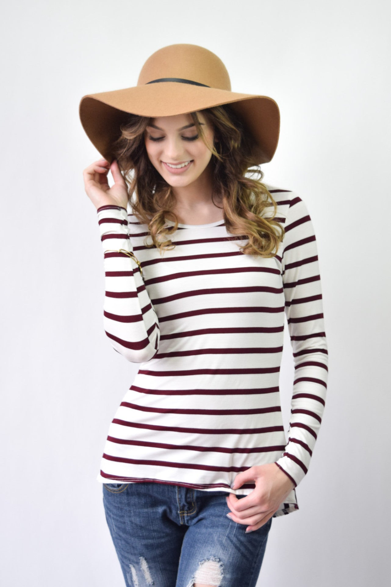 Striped Peplum Top | Wine - Hello Pink Boutique - 5