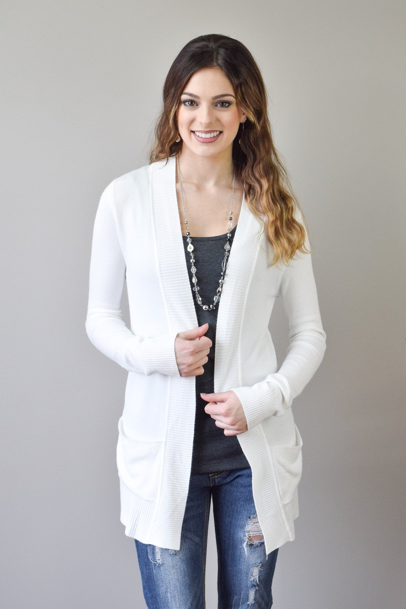 Perfect Spring Cardigan | Ivory - Hello Pink Boutique - 1