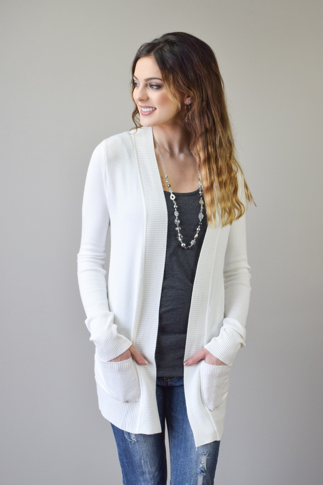Perfect Spring Cardigan | Ivory - Hello Pink Boutique - 2