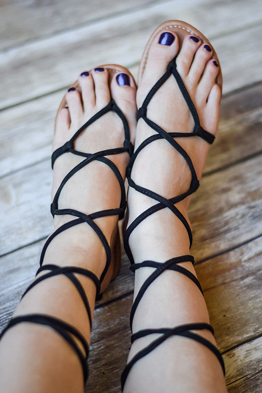 Katee Lace Up Gladiator Sandals | Black