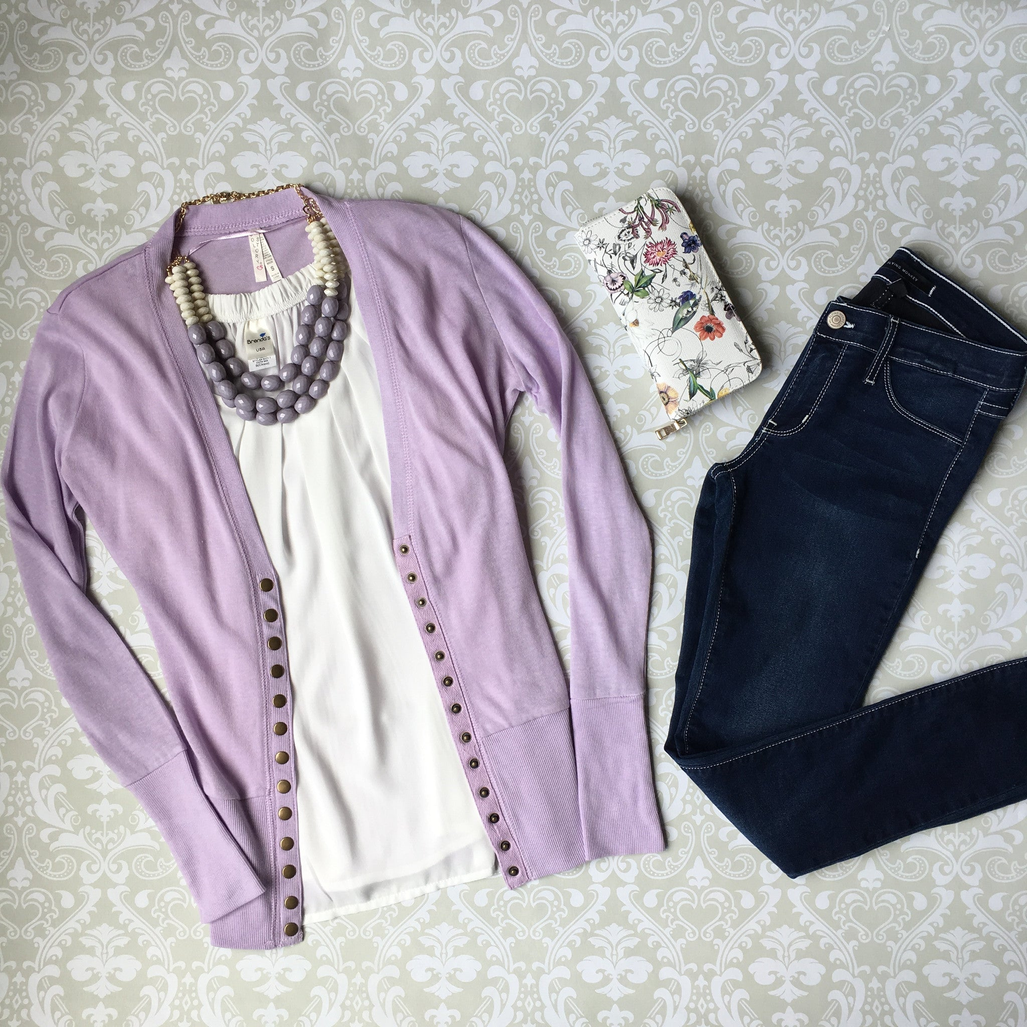 Snap Up Cardigan- Lilac - Hello Pink Boutique - 3