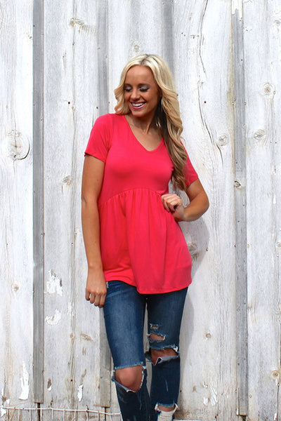 Jess Cinched Top | Coral