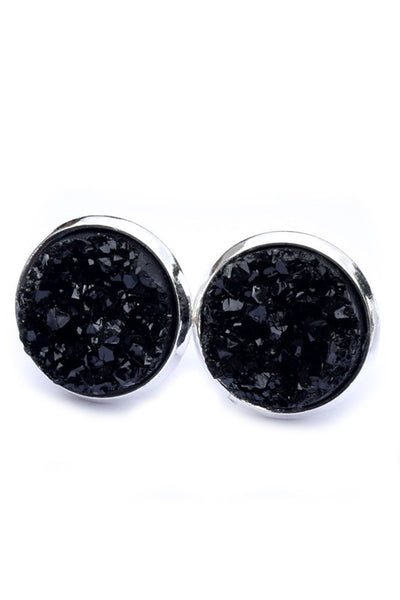 Stainless Druzy Earrings | Black