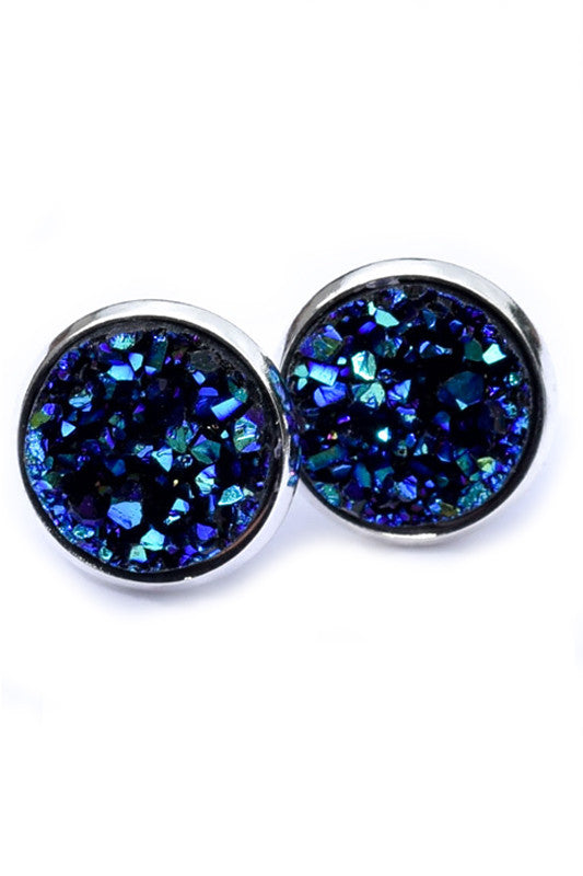 Stainless Druzy Earrings | Blue