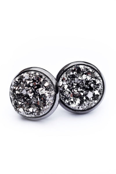 Druzy Earrings | Grey on Gunmetal