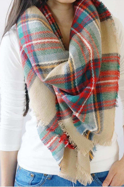 Plaid Blanket Scarf- Red/Green/ Multi-Colored