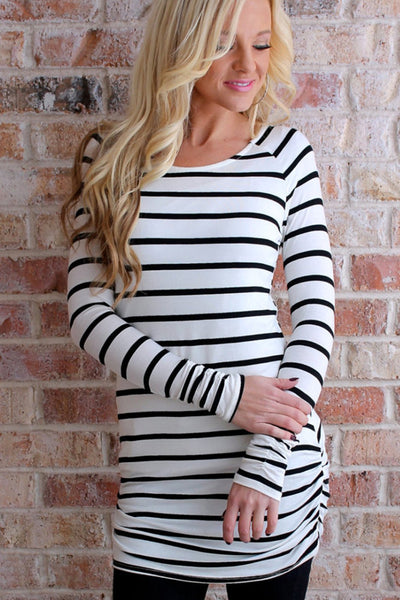 Striped Ruched Tunic | Black