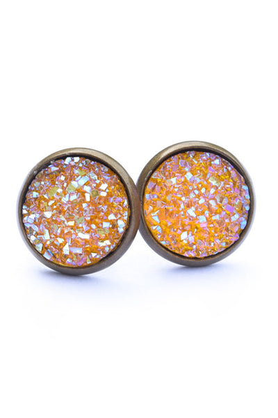 Druzy Earrings | Antique Orange