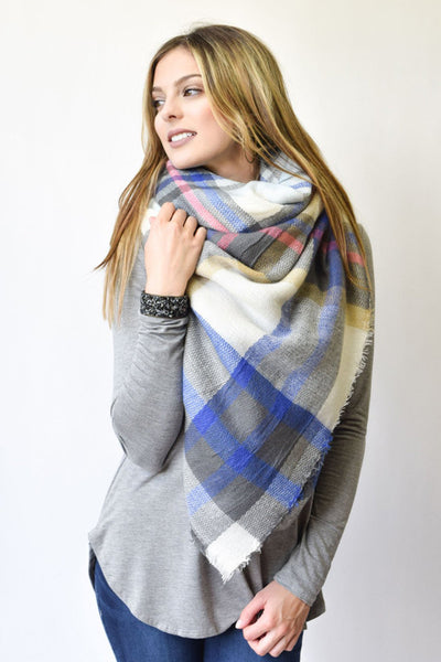 Plaid Blanket Scarf- Blue/ Multi-Colored