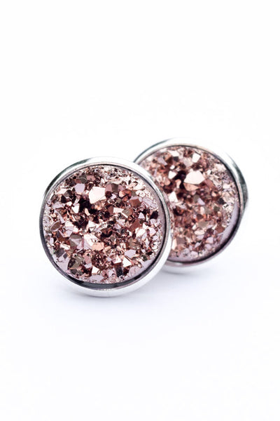 Druzy Earrings | Rose on Silver